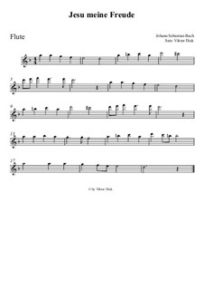 Jesu, meine Freude, BWV 227: Für Flöte by Johann Sebastian Bach