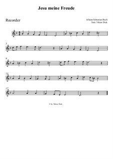 Jesu, meine Freude, BWV 227: Für Blockflöte by Johann Sebastian Bach