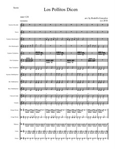 Los Pollitos Dicen: For elementary mariachi orff ensemble by folklore