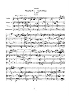 String Quartet No.14 in G Major, K.387: Partitura completa by Wolfgang Amadeus Mozart