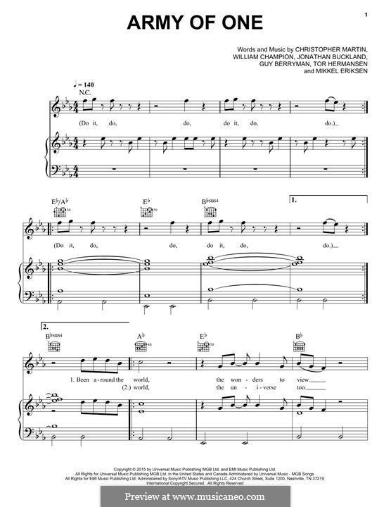 Army of One (Coldplay): Para vocais e piano (ou Guitarra) by Chris Martin, Guy Berryman, Jonny Buckland, Mikkel Storleer Eriksen, Will Champion