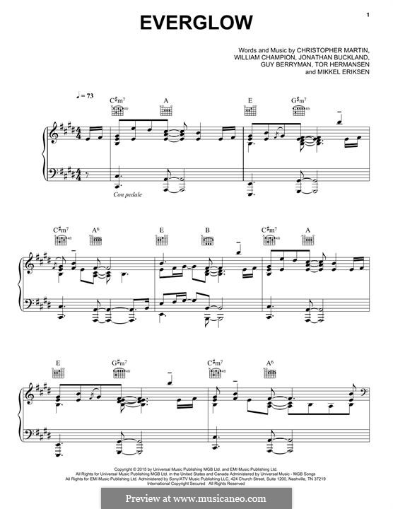 Everglow (Coldplay): Para vocais e piano (ou Guitarra) by Chris Martin, Guy Berryman, Jonny Buckland, Mikkel Storleer Eriksen, Tor Erik Hermansen, Will Champion