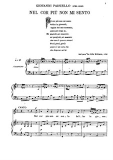 Nel cor più non mi sento, R 1.76: Para vocais e piano by Giovanni Paisiello