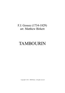 Tambourin in F Major: partituras completas, partes by François Joseph Gossec