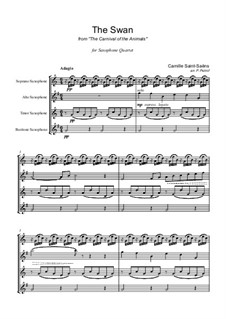 The Swan: para quarteto de saxofone by Camille Saint-Saëns