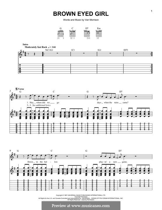 Brown Eyed Girl: Para guitarra com guia by Van Morrison