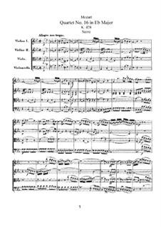 String Quartet No.16 in E Flat Major, K.428: Partitura completa by Wolfgang Amadeus Mozart