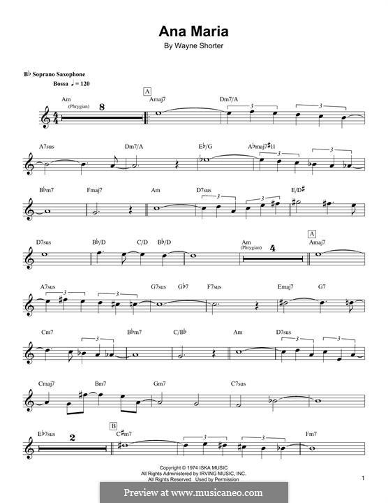 Ana Maria: For soprano saxophone by Wayne Shorter