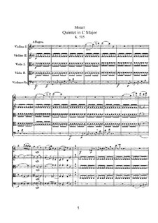 String Quintet No.3 in C Major, K.515: Partitura completa by Wolfgang Amadeus Mozart