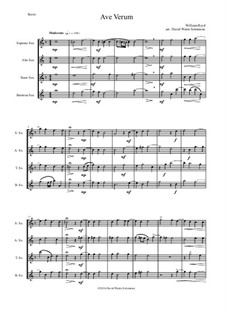 Ave Verum: para quarteto de saxofone by William Byrd
