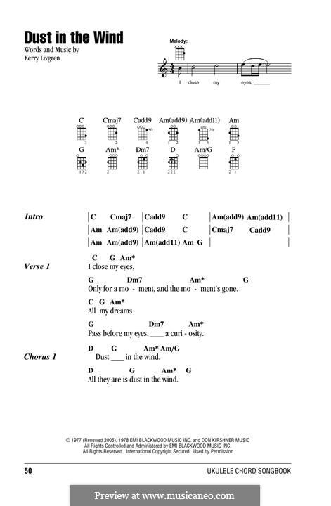Dust in the Wind (Kansas): para ukulele by Kerry Livgren