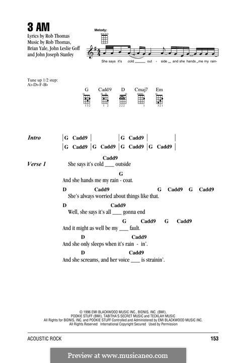 3 AM (Matchbox Twenty): para ukulele by Brian Yale, Jay Stanley, John Goff, Rob Thomas