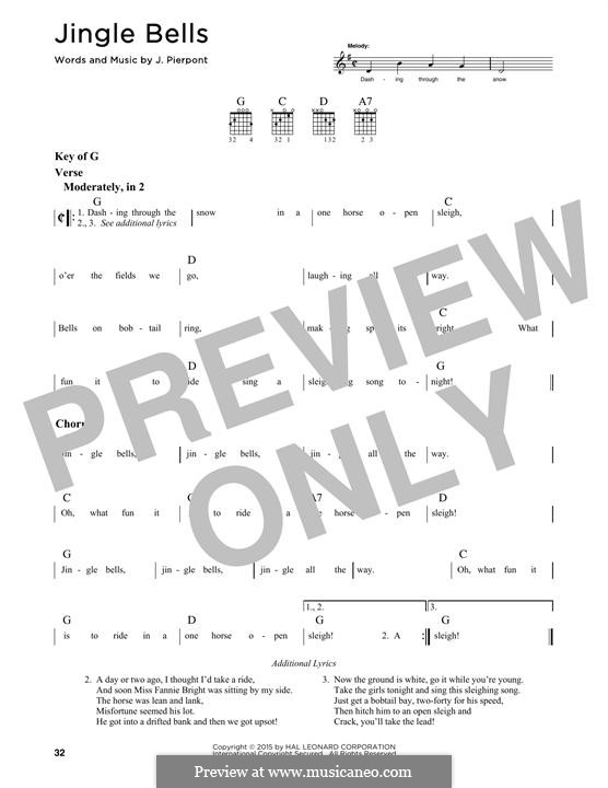 Jingle Bells (Printable scores): Para Guitarra by James Lord Pierpont
