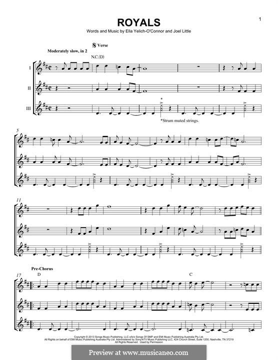 Royals (Lorde): For any instrument by Ella Yelich-O'Connor, Joel Little