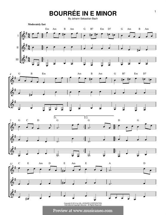 Suite for Lute (or Harpsichord) in E Minor, BWV 996: Bourrée. Version for any instrument by Johann Sebastian Bach