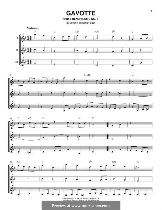 Partita for Violin No.3 in E Major, BWV 1006: Gavotte. Arrangement for any instrument by Johann Sebastian Bach