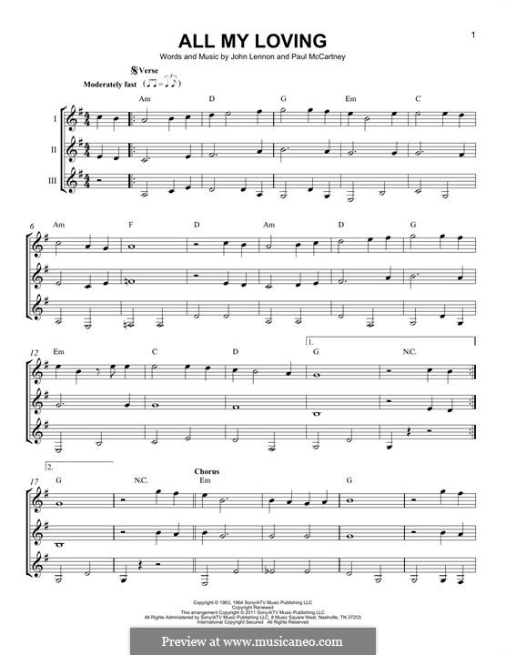 All My Loving (The Beatles): For any instrument by John Lennon, Paul McCartney