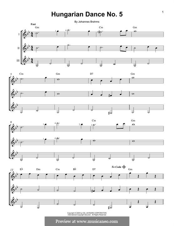 Dance No.5 in F Sharp Minor (Printable scores): For any instrument by Johannes Brahms