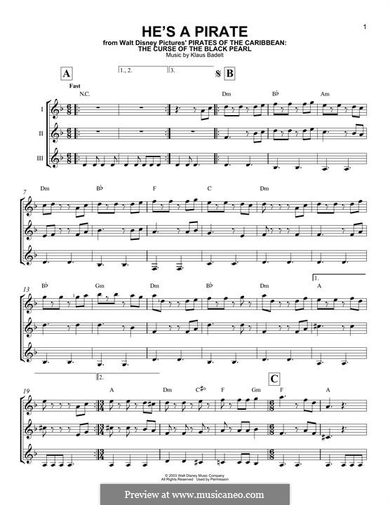 He's a Pirate (from Pirates of the Caribbean: The Curse of the Black Pearl): For any instrument by Klaus Badelt