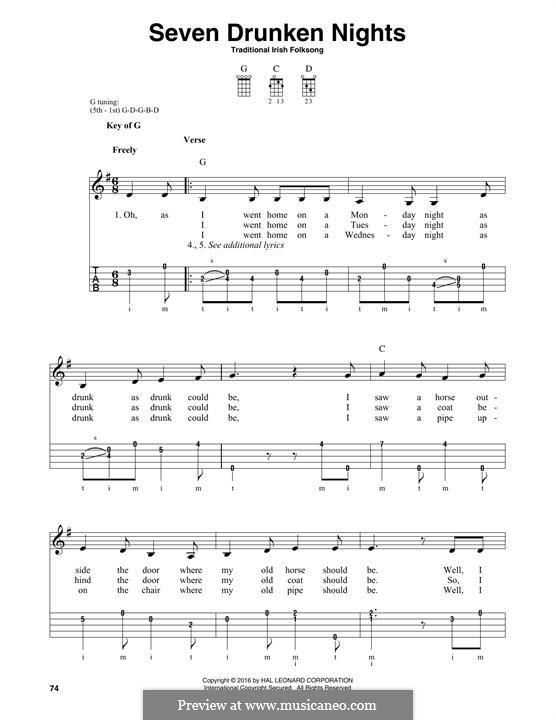 Seven Drunken Nights: For banjo by folklore