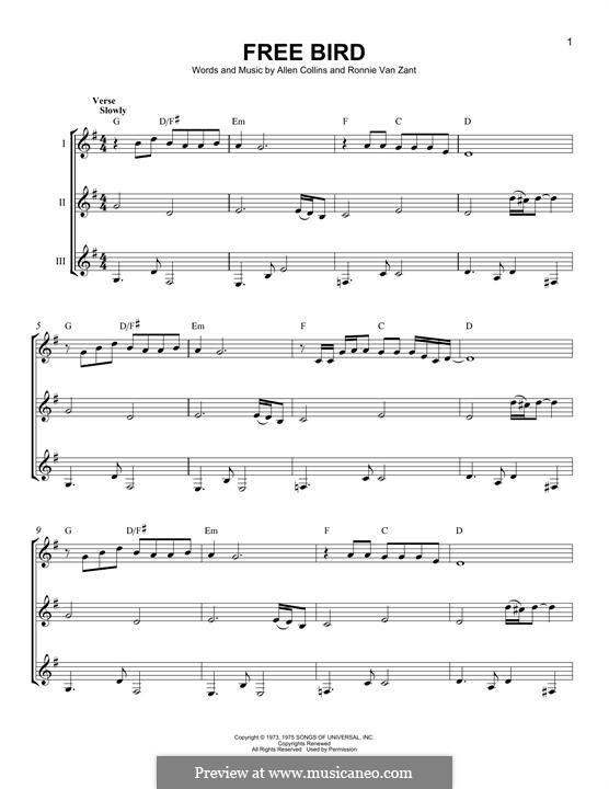 Free Bird (Lynyrd Skynyrd): For any instrument by Allen Collins, Ronnie Van Zant