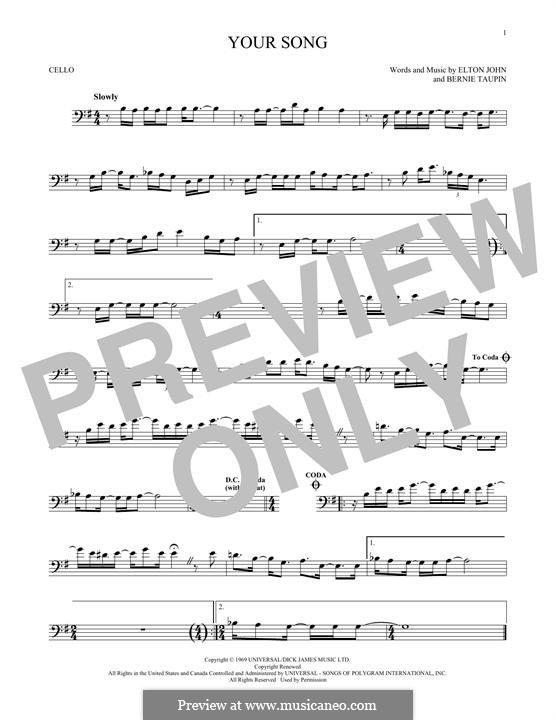 Your Song: para violoncelo by Elton John
