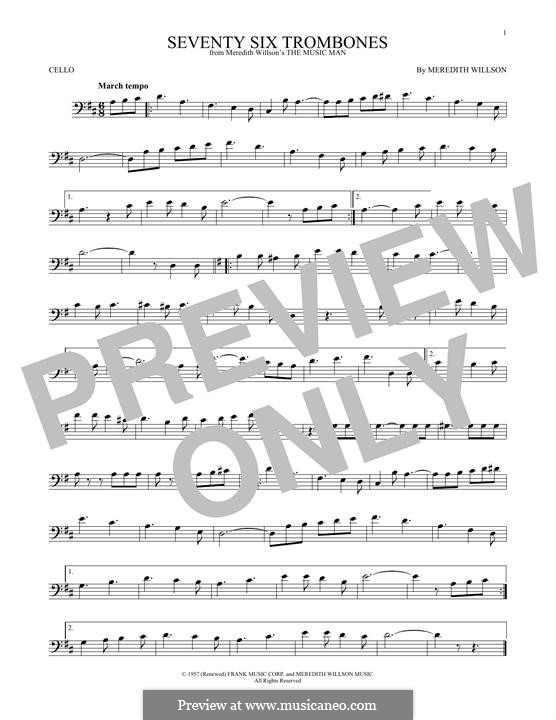 Seventy Six Trombones: para violoncelo by Meredith Willson