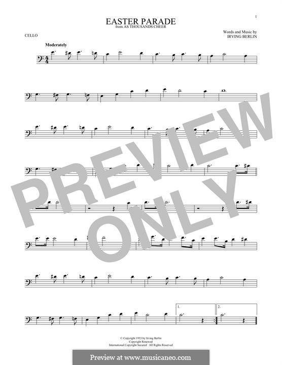 Easter Parade: para violoncelo by Irving Berlin
