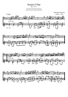 Six Sonatas for Cello (or Viola) and Basso Continuo, Op.1: Sonata No.1 in F Major, for bassoon and guitar by Benedetto Marcello