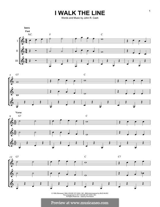 I Walk the Line: For any instrument by Johnny Cash