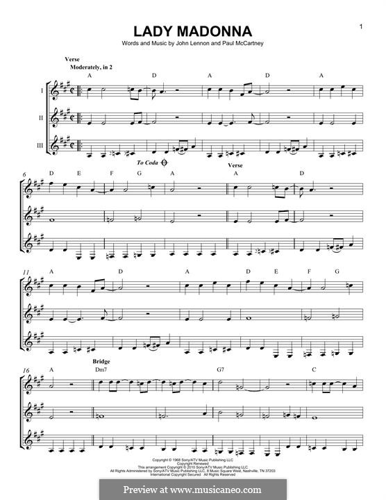 Lady Madonna (The Beatles): For any instrument by John Lennon, Paul McCartney