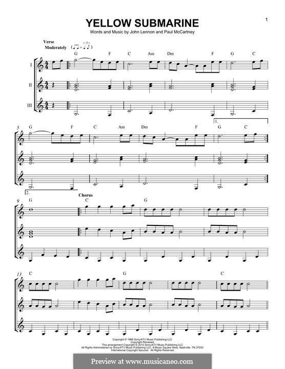 Yellow Submarine (The Beatles): For any instrument by John Lennon, Paul McCartney