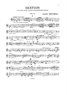 Sextet for Piano and Winds: parte trompa by Amédée Reuchsel