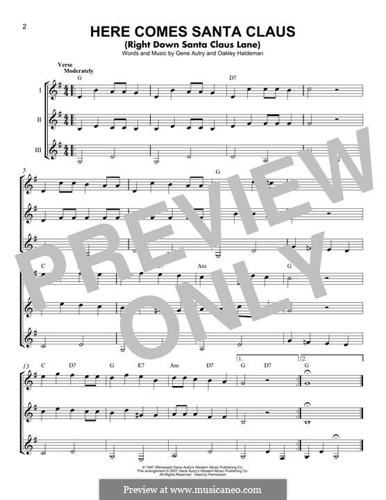 Here Comes Santa Claus (Right Down Santa Claus Lane): For any instrument (trio) by Gene Autry, Oakley Haldeman