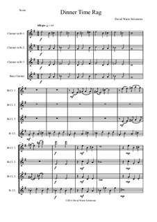 Dinner Time Rag: For clarinet quartet (3 B-flat clarinets, 1 bass clarinet) by David W Solomons