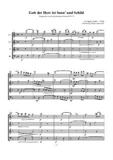 Gott der Herr ist Sonn und Schild (The Lord God is sun and shield), BWV 79: Arrangement for recorder quartet by Johann Sebastian Bach