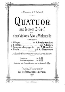 String Quartet on the Theme 'B-La-F': partitura completa by Nikolai Rimsky-Korsakov