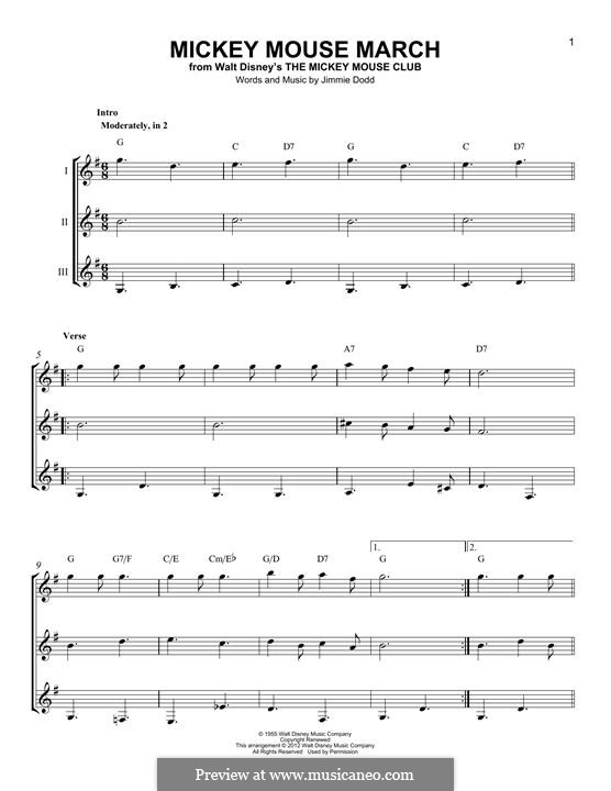 Mickey Mouse March: For any instrument by Jimmie Dodd
