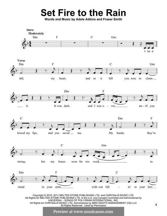 Set Fire to the Rain: Letras e Acordes by Adele, Fraser T. Smith