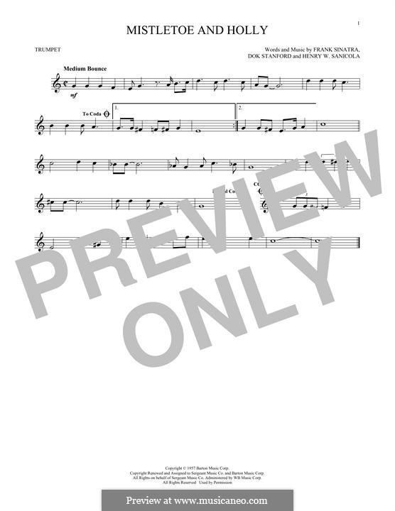 Mistletoe and Holly (Frank Sinatra): para trompeta by Dok Stanford, Henry W. Sanicola