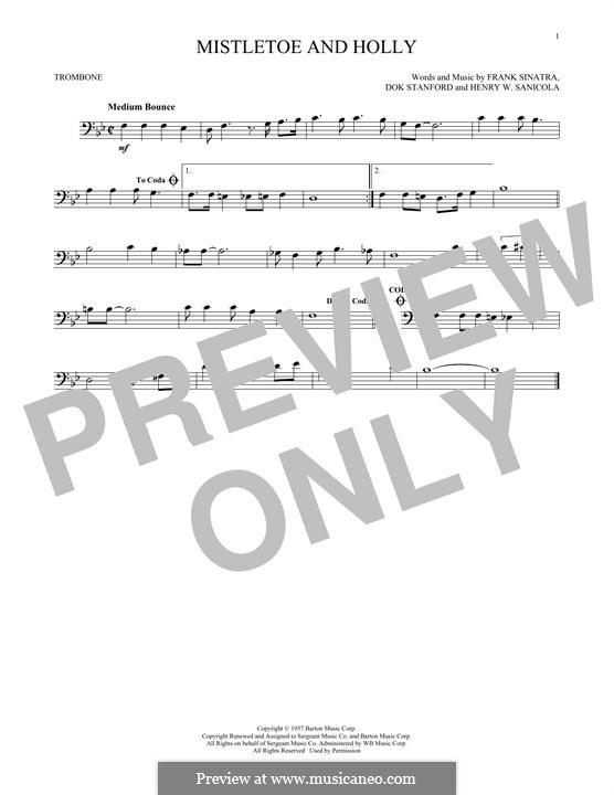 Mistletoe and Holly (Frank Sinatra): para trombone by Dok Stanford, Henry W. Sanicola