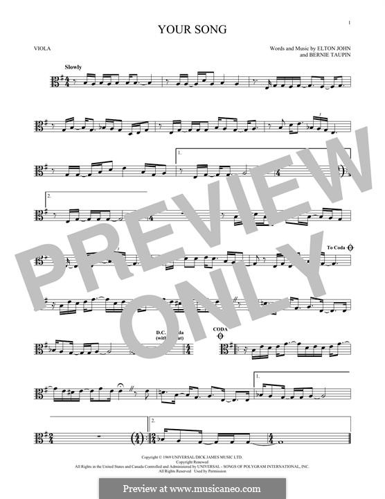 Your Song: para viola by Elton John