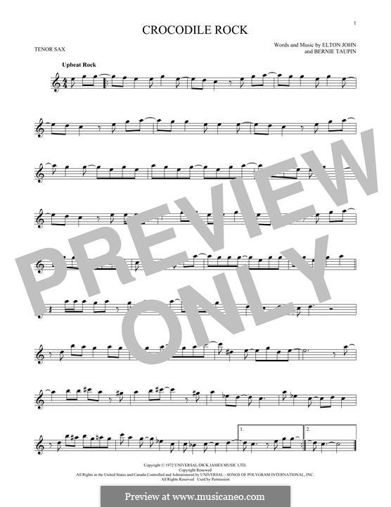 Crocodile Rock: para saxofone tenor by Elton John