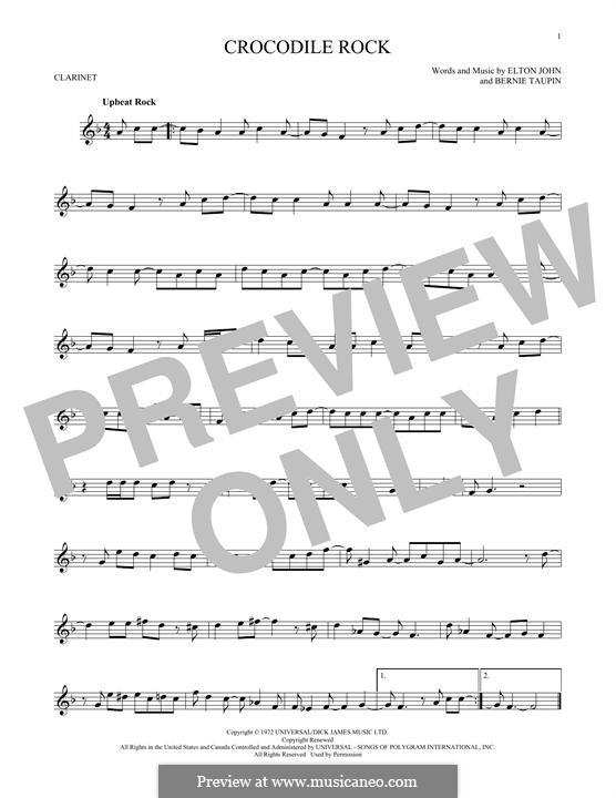 Crocodile Rock: para clarinete by Elton John