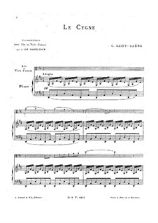 The Swan: For viola (or viola d'amore) and piano by Camille Saint-Saëns