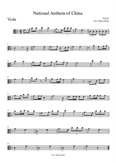 The National Anthem of China: para viola by Er Nie