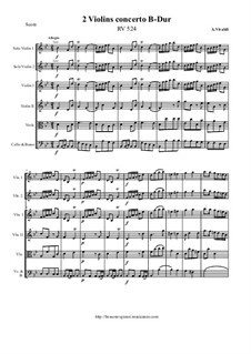 Concerto for Two Violins and Strings in B Flat Major, RV 524: Score and all parts by Antonio Vivaldi