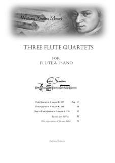 3 Flute Quartets for Flute and Piano, K.285/298/370: 3 Flute Quartets for Flute and Piano by Wolfgang Amadeus Mozart