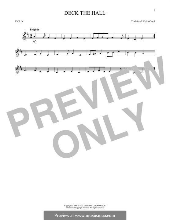 Deck the Hall (Printable): para violino by folklore