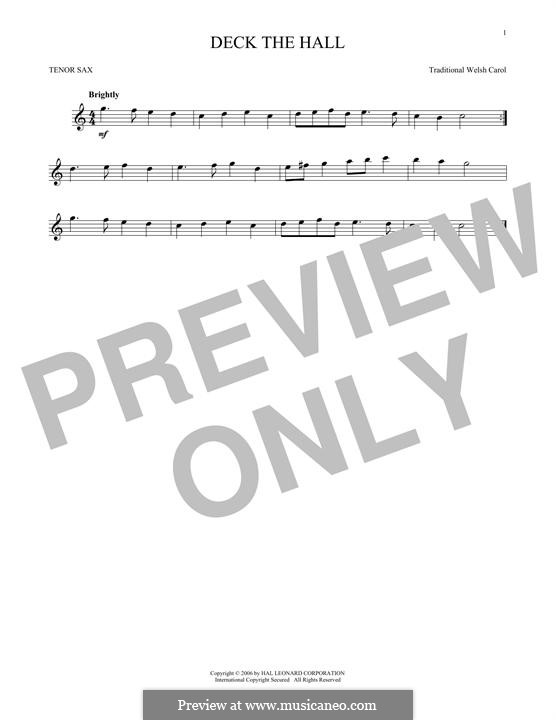 Deck the Hall (Printable): para saxofone tenor by folklore